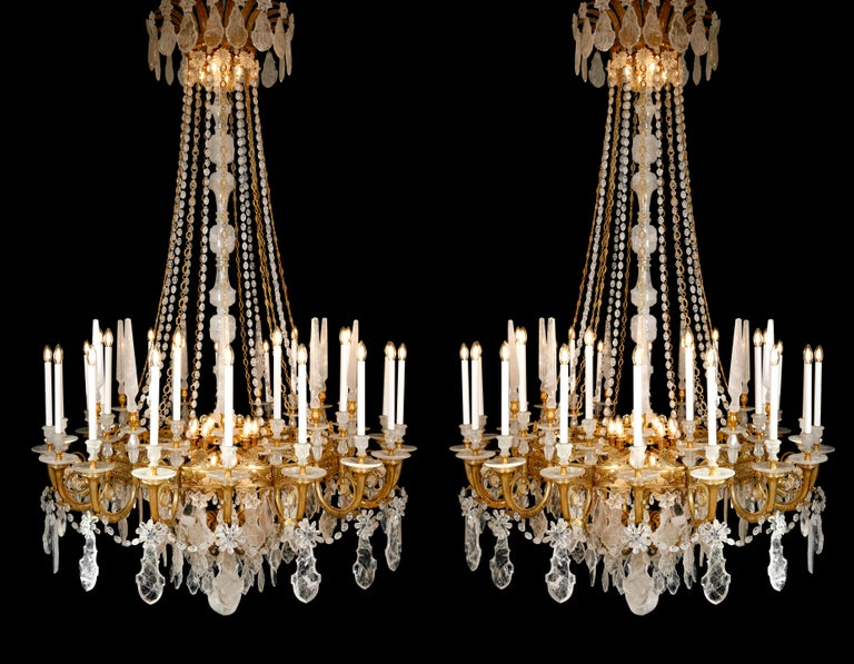 Monumental Pair of Hand-Carved Rock Crystal, Bronze and Ormolu Chandeliers For Sale 3