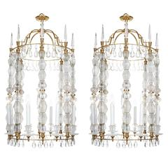 Unique Pair of Classic Style Rock Crystal Lanterns exceptionally large