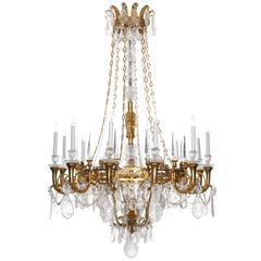 Large Bronze Empire Style Rock Crystal Chandelier