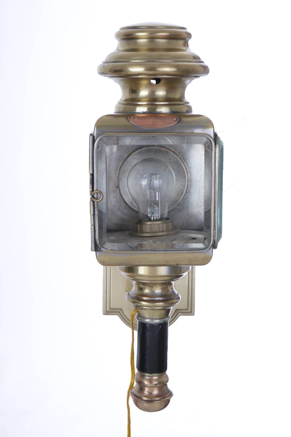 Wall Mounted Carriage Lamps : Pair of Carriage Brass and Glass Wall Lights, circa 1890 at 1stdibs