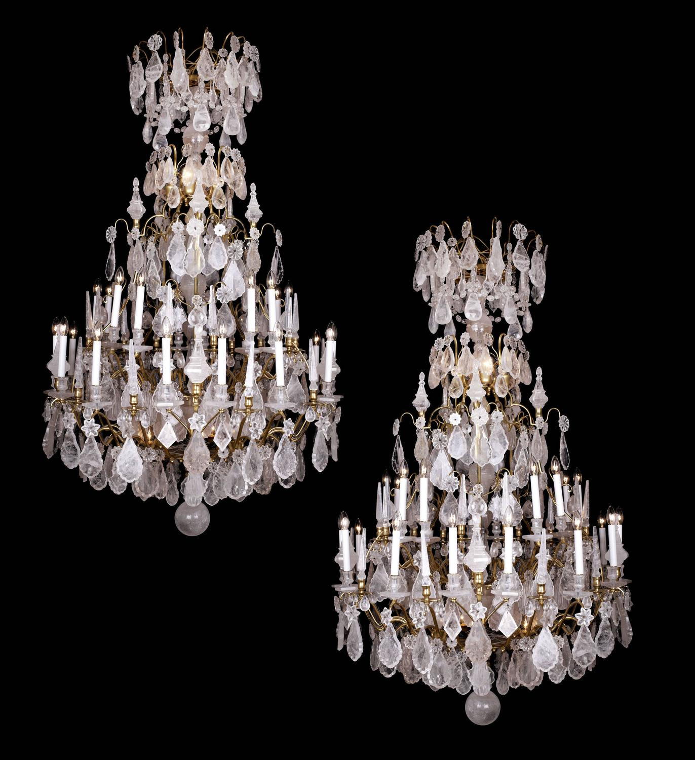 Unique large pair of rock crystal classical louis xv style chandeliers for sale at 1stdibs - Unique crystal chandeliers ...