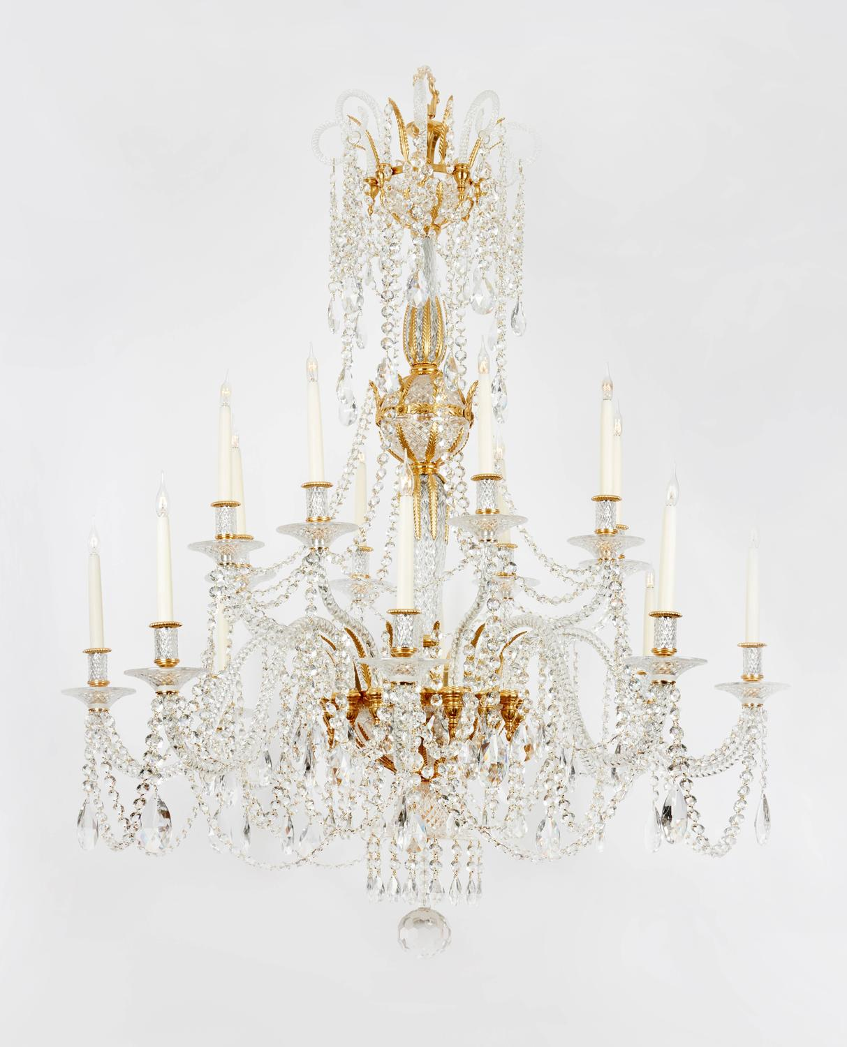 Unique large pair of 19th century style english cut glass for Unique chandeliers for sale
