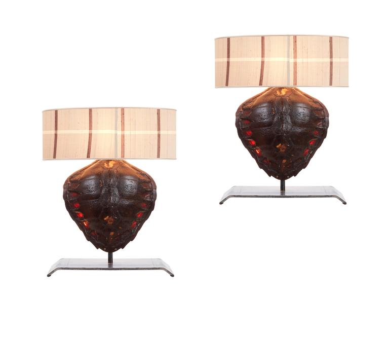 Pair of Genuine Tortoiseshell Table Lamps on Custom-Made Stands For Sale 1