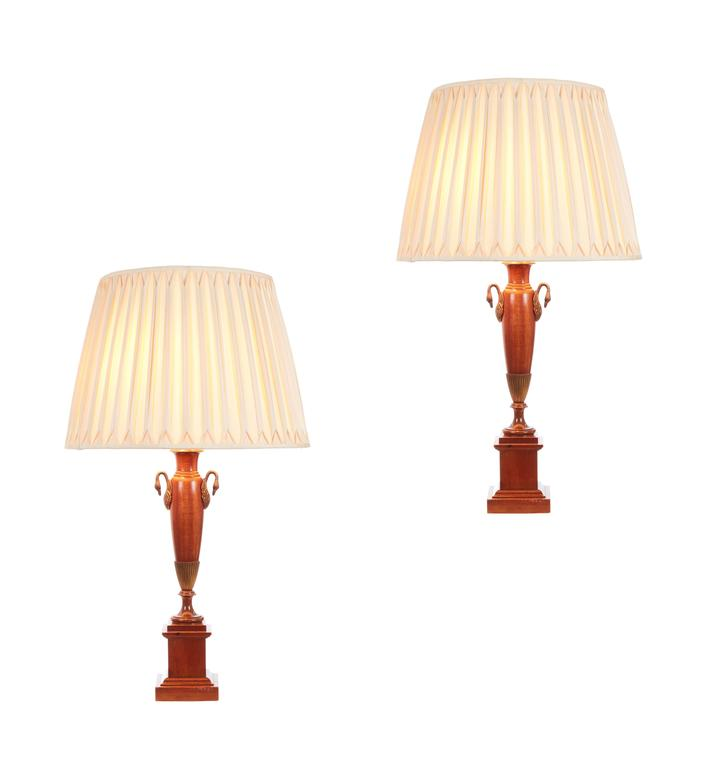 Pair of English Classical Greek Empire Revival Table Lamps For Sale 2