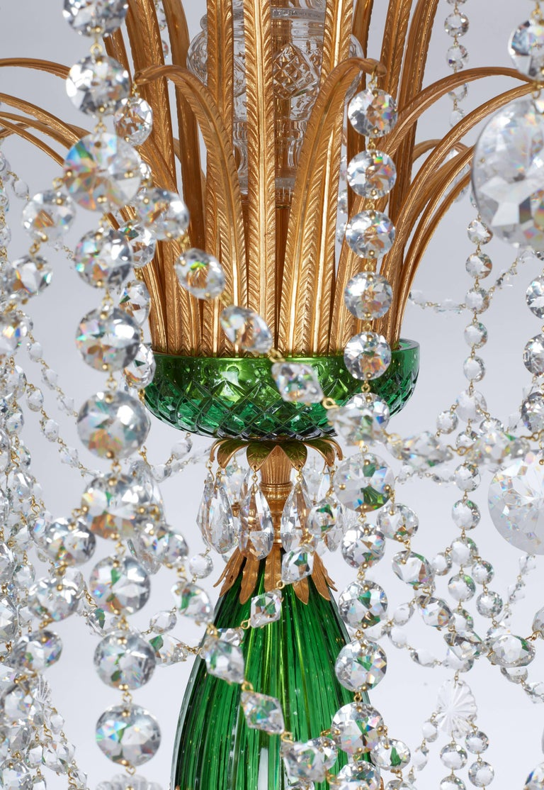 English Magnificent Pair of Russian Green Crystal and Gold Chandeliers For Sale