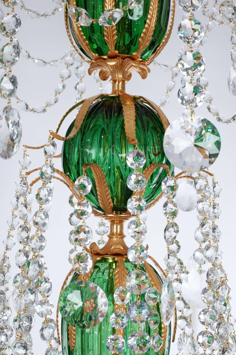 Magnificent Pair of Russian Green Crystal and Gold Chandeliers In Excellent Condition For Sale In London, GB
