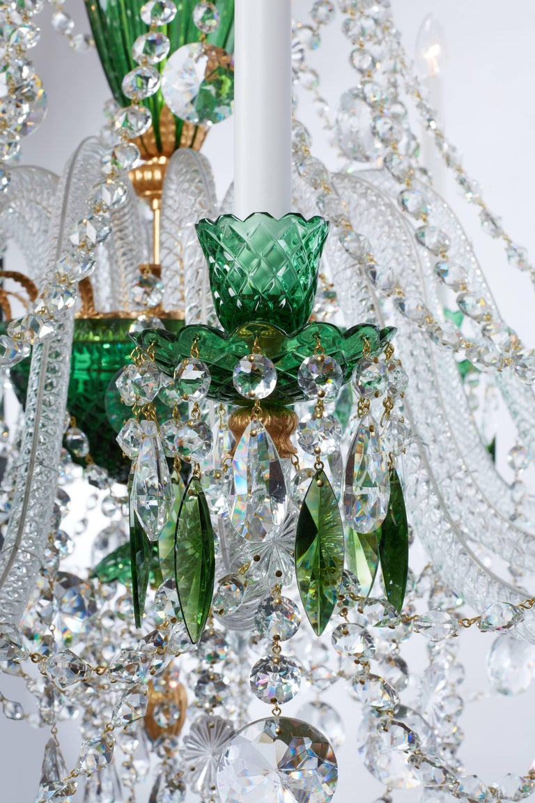 Contemporary Magnificent Pair of Russian Green Crystal and Gold Chandeliers For Sale