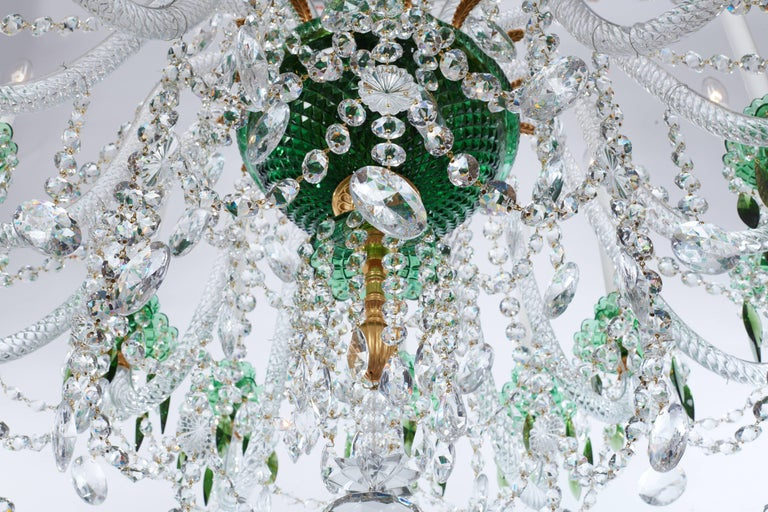 Bronze Magnificent Pair of Russian Green Crystal and Gold Chandeliers For Sale