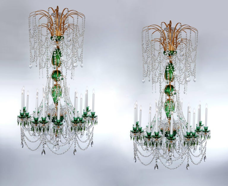 Magnificent Pair of Russian Green Crystal and Gold Chandeliers For Sale 1