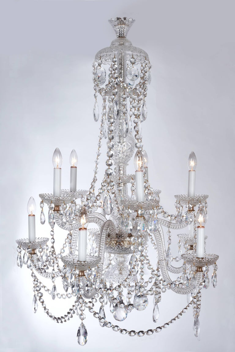 Large pair of fine parker and perry english clear crystal glass a large pair of fine english clear crystal glass chandeliers exquisitely executed with rope twist aloadofball Gallery