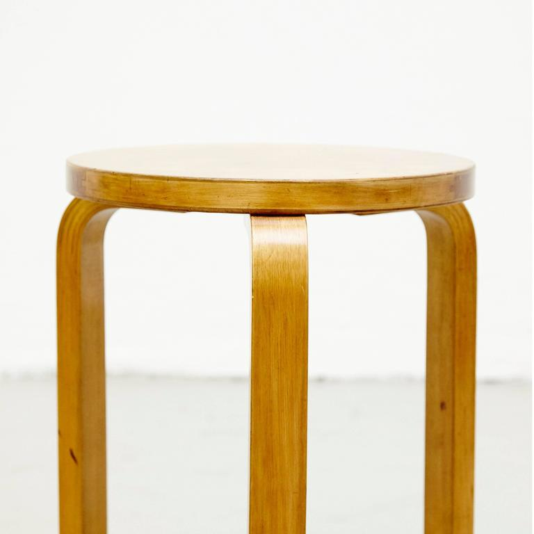 Finnish Alvar Aalto First Edition Wood Stool for Finmar, circa 1930 For Sale