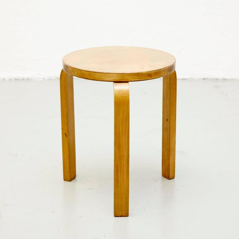 Mid-Century Modern Alvar Aalto First Edition Wood Stool for Finmar, circa 1930 For Sale