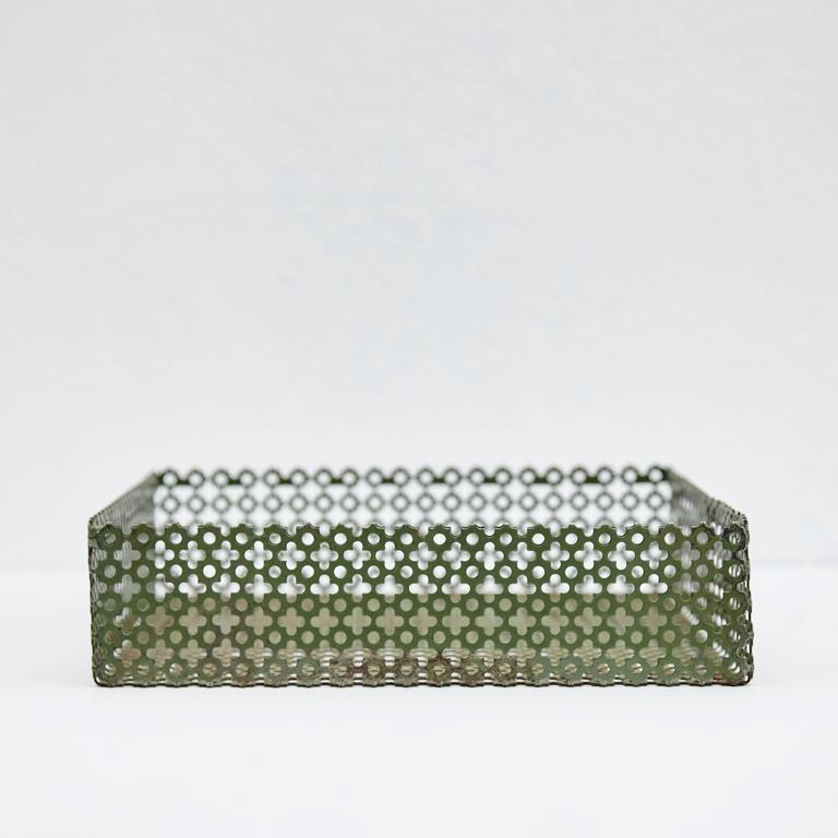 Mid-Century Modern Green Enameled Metal Tray after Mathieu Matégot, circa 1950 For Sale