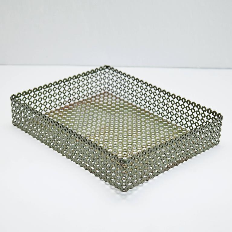 Enameled metal tray designed after Mathieu Matégot.