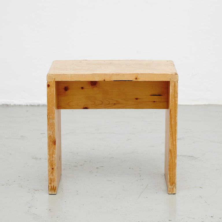 Mid-Century Modern Charlotte Perriand Stool for Les Arcs For Sale