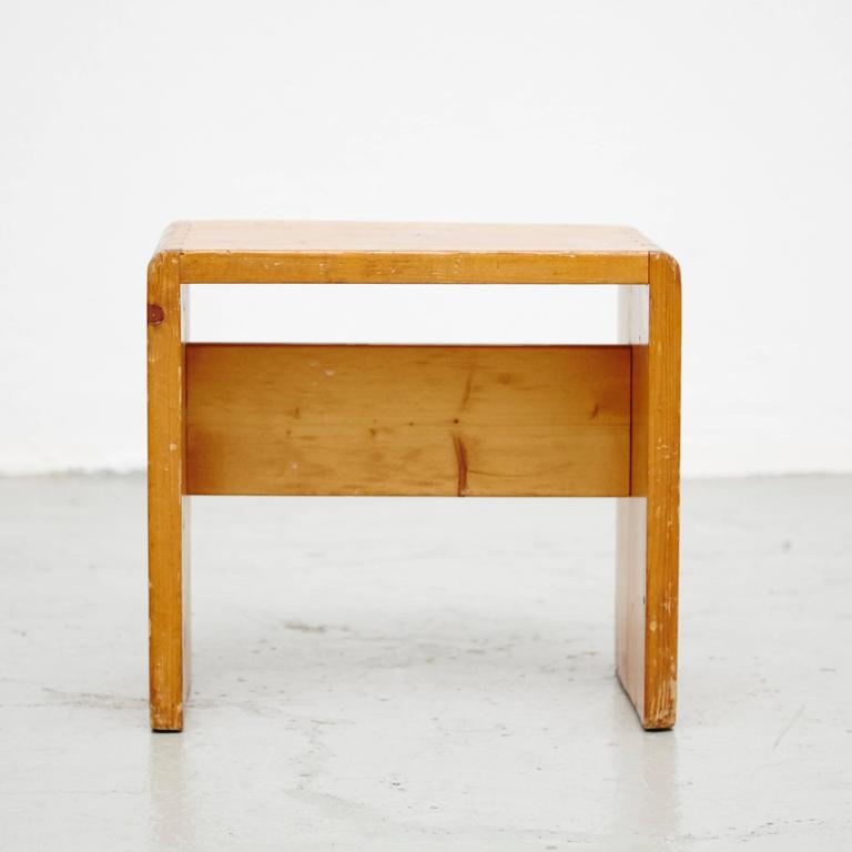 Pine Set of Four Charlotte Perriand Stool for Les Arcs For Sale