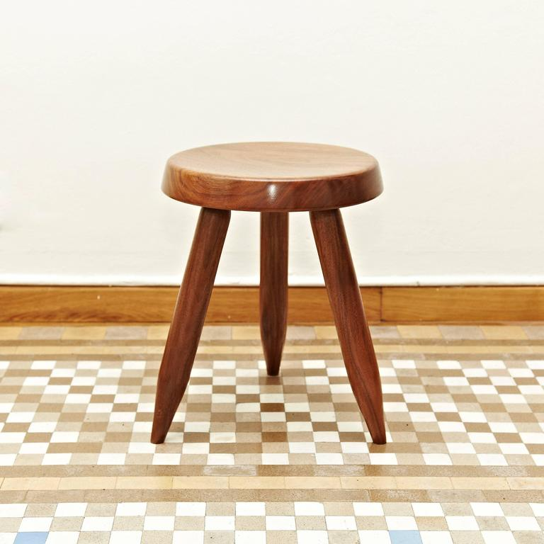 Stool designed in the style of Charlotte Perriand, made by unknown manufacturer.