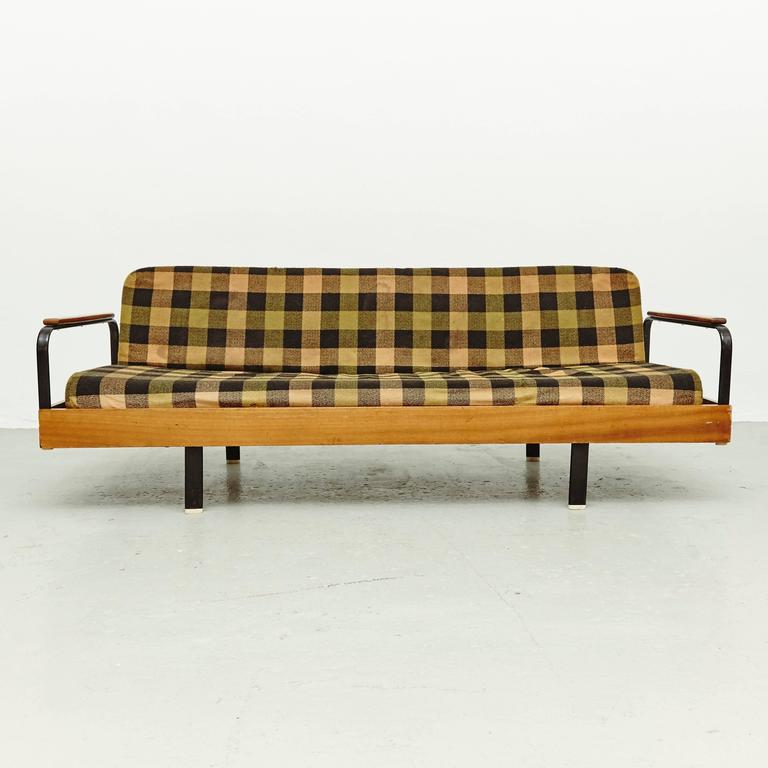 Mid Century Modern French Sofa After Jean Prouve, Circa 1950 For Sale