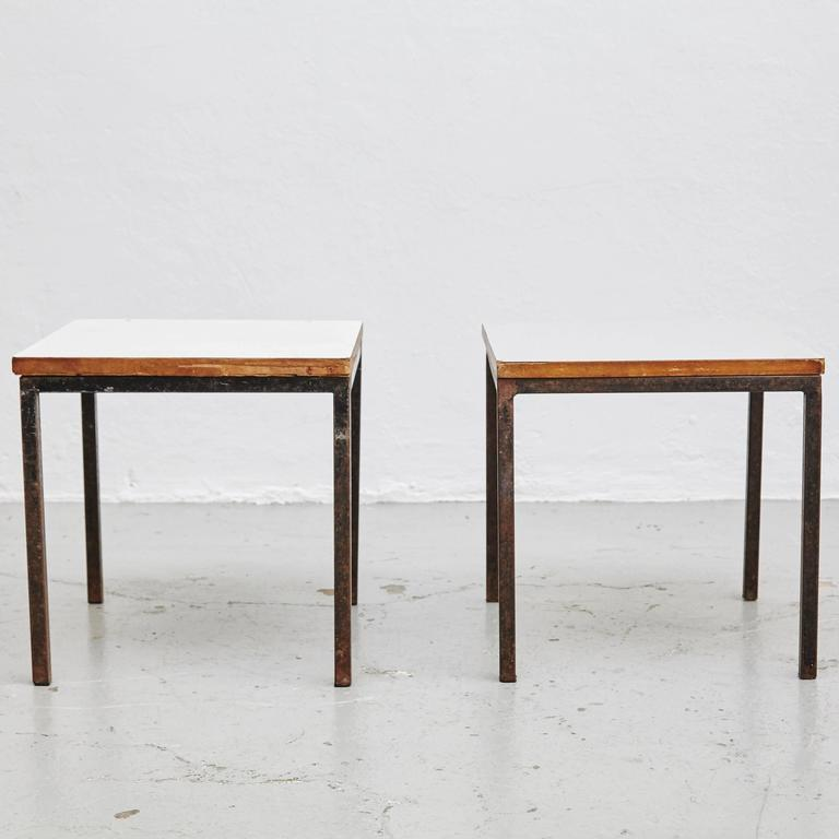 Pair of Florence Knoll T-Angle Side Tables, circa 1950 3