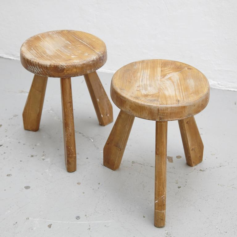 Mid-Century Modern Pair of Sandoz Stools by Charlotte Perriand, circa 1960 For Sale