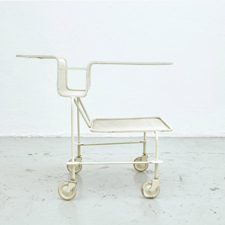 Trolley designed by Mathieu Matégot. Manufactured by Ateliers Matégot (France), circa 1950. 