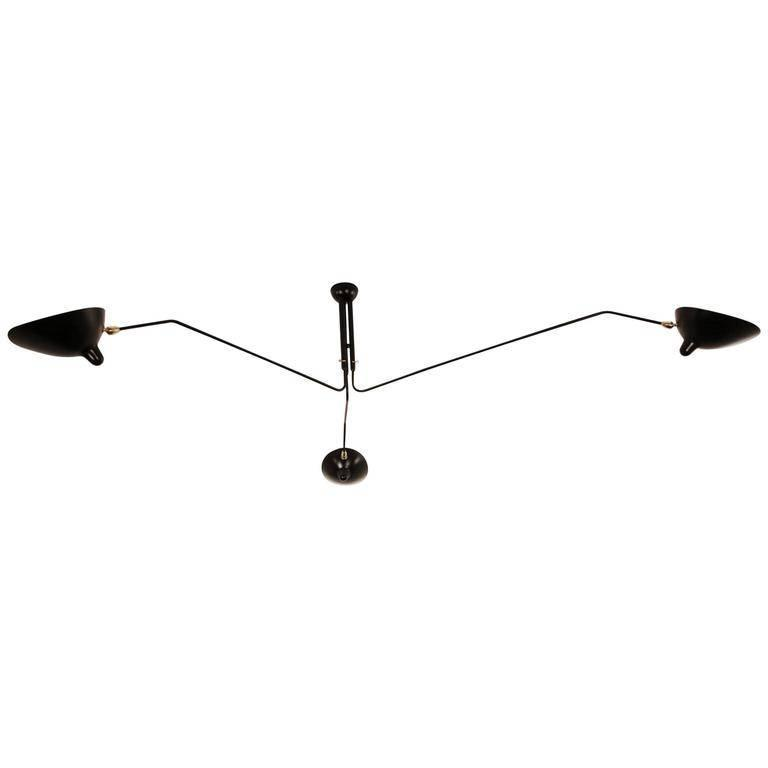 Serge Mouille Three Rotating Arms Ceiling Sconce Lamp For Sale