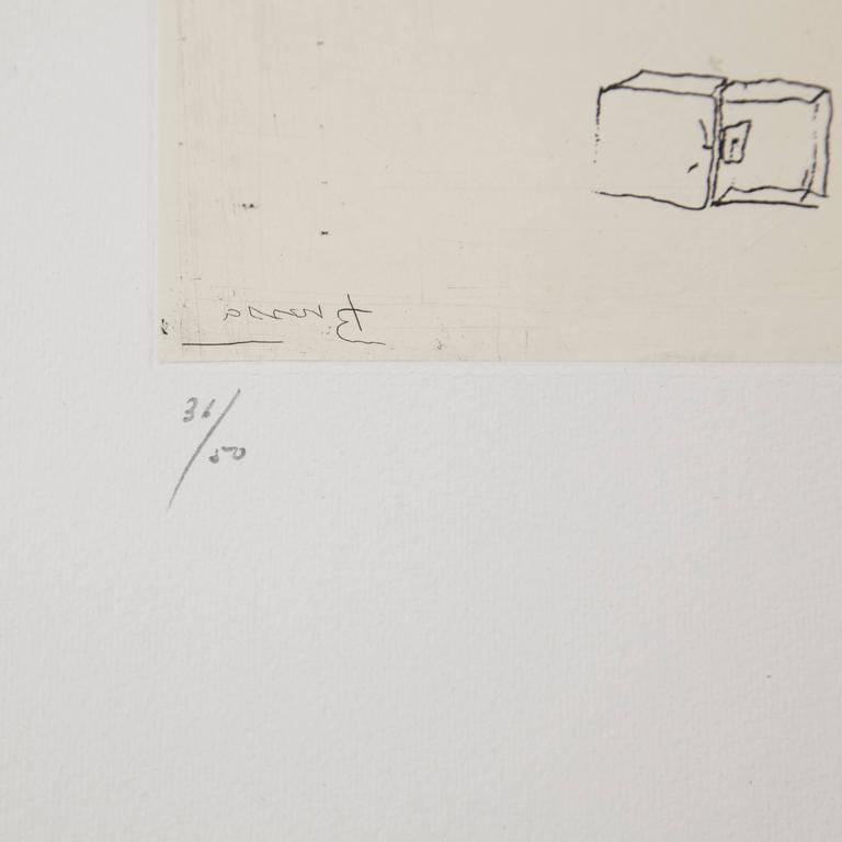 Etching made by Joan Brossa, circa 1970.  Limited edition of 50 copies. Numbered (36/50) and hand-signed.  In original good condition.  Joan Brossa (1919-1998) was a Catalan poet, playwright, graphic designer and visual artist. He wrote his