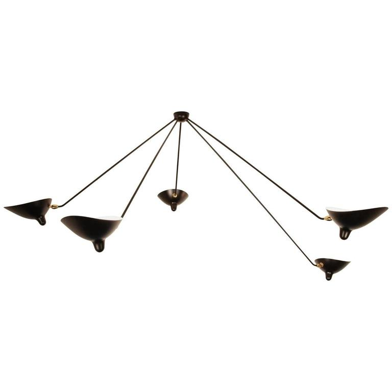Serge Mouille Spider Five Still Arms Ceiling Sconce Lamp