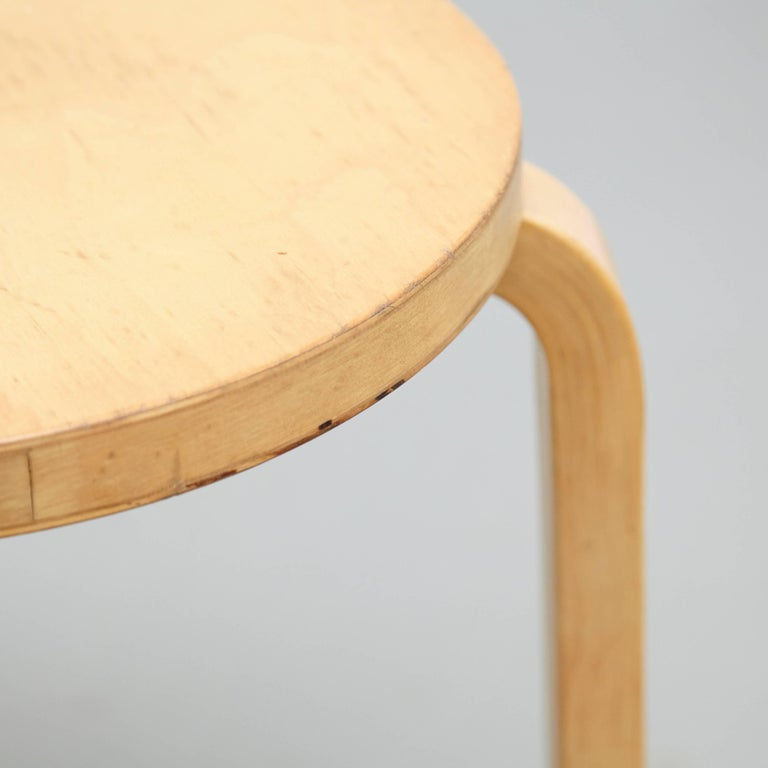 Wood Alvar Aalto Stool, circa 1960 For Sale