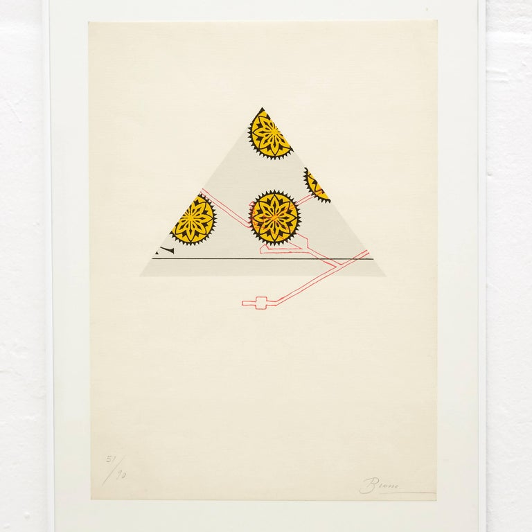 Visual poem made by Joan Brossa, circa 1989.  Graphic print. Lithograph on Guarro Paper. Limited edition (90). Signed and Numbered.  Joan Brossa - Barcelona, Spain (1919-1998) was a Catalan poet, playwright, graphic designer and visual artist.