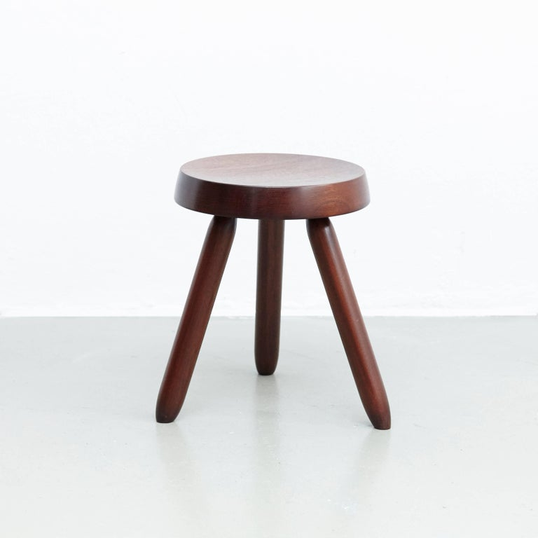 French Pair of Stools in the Style of Charlotte Perriand For Sale