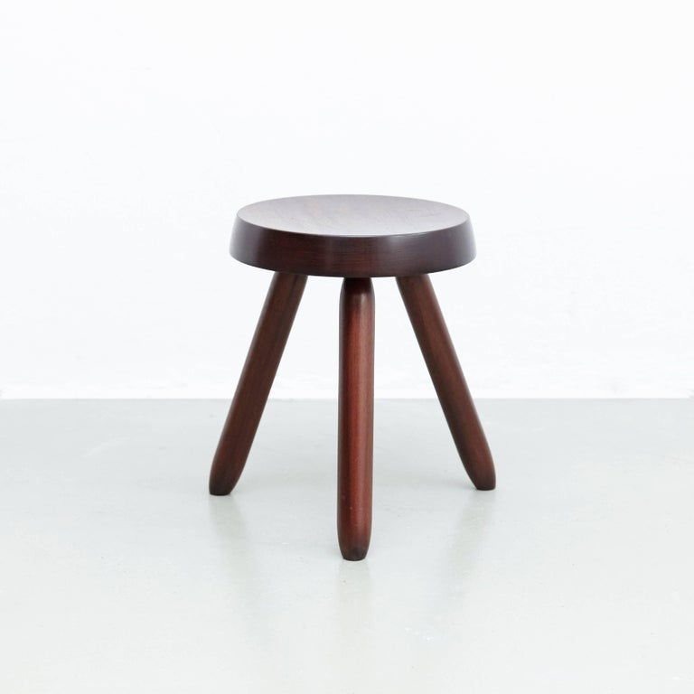 Mid-Century Modern Pair of Stools in the Style of Charlotte Perriand For Sale