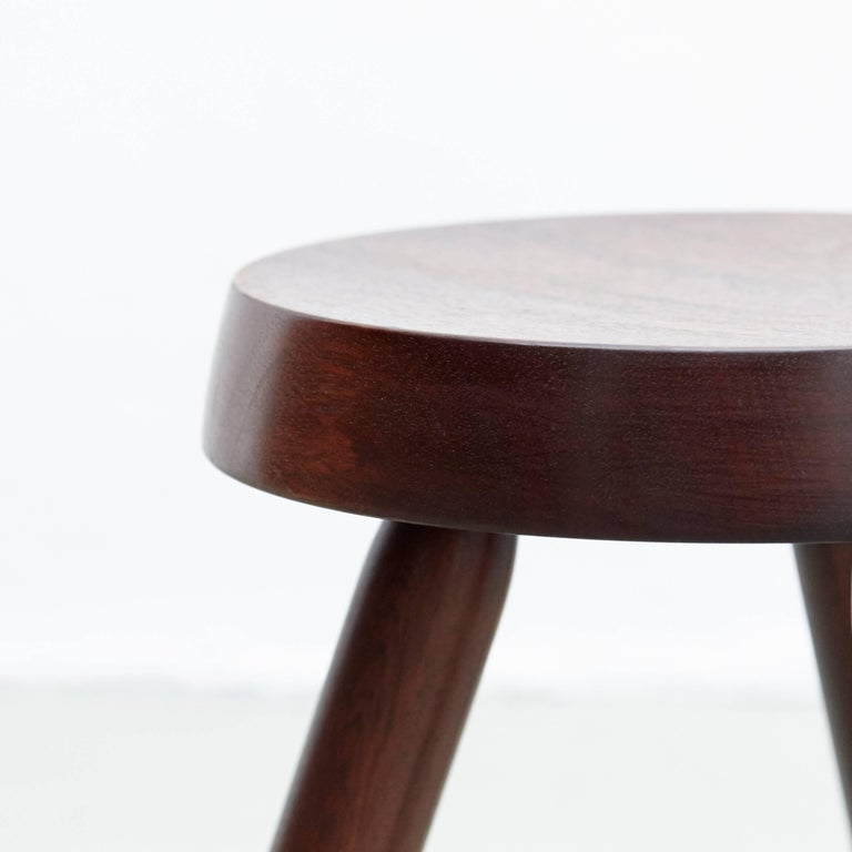 Wood Pair of Stools in the Style of Charlotte Perriand For Sale