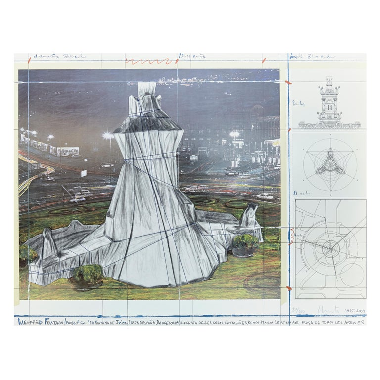 Christo Lithograph-Collage Wrapped Fountain