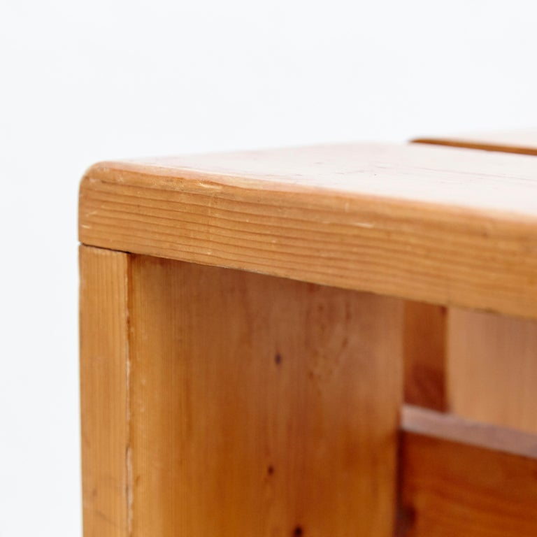 Charlotte Perriand Pine Wood Stool for Les Arcs For Sale 1