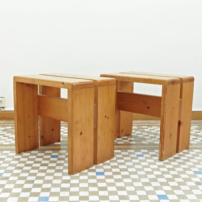 Mid-Century Modern Pair of Charlotte Perriand Stool for Les Arcs For Sale
