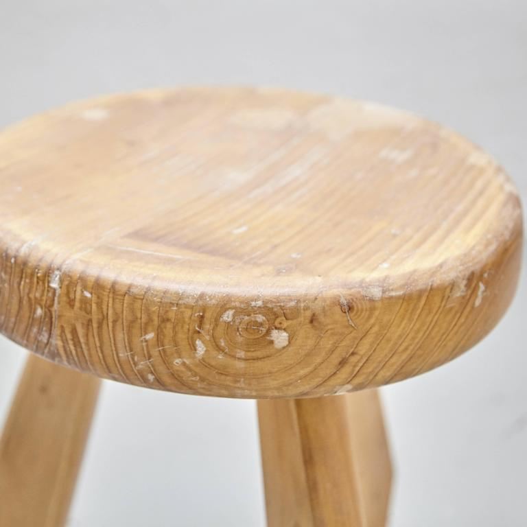 Pine Pair of Sandoz Stools by Charlotte Perriand, circa 1960 For Sale