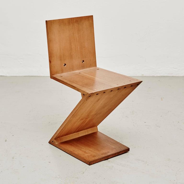 Charmant De Stijl Pair Of Gerrit Rietveld Zig Zag Chairs For Sale