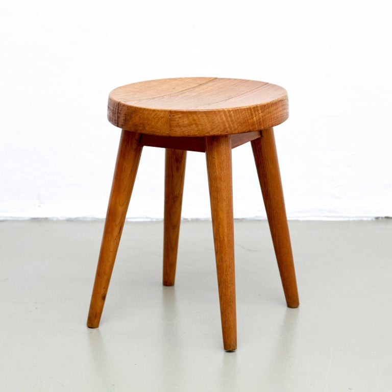 Pine Pair of Pierre Jeanneret & Charlotte Perriand Stools For Sale