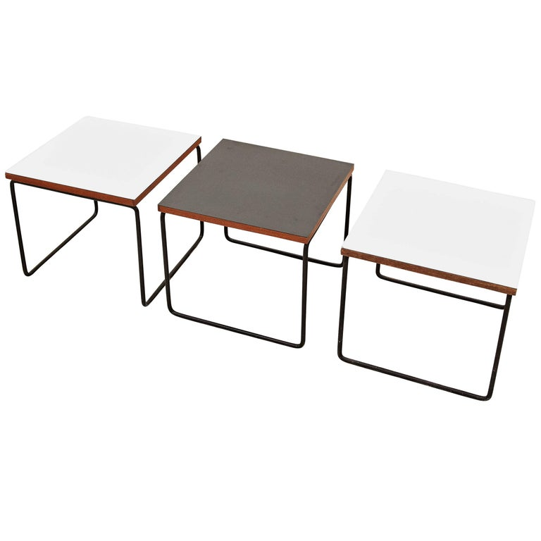 Set of Three Pierre Guariche Side Table for Steiner, circa 1950