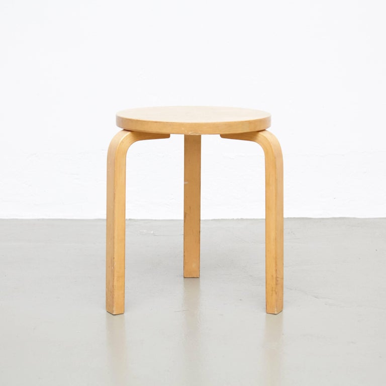 Stool designed by Alvar Aalto, circa 1960.