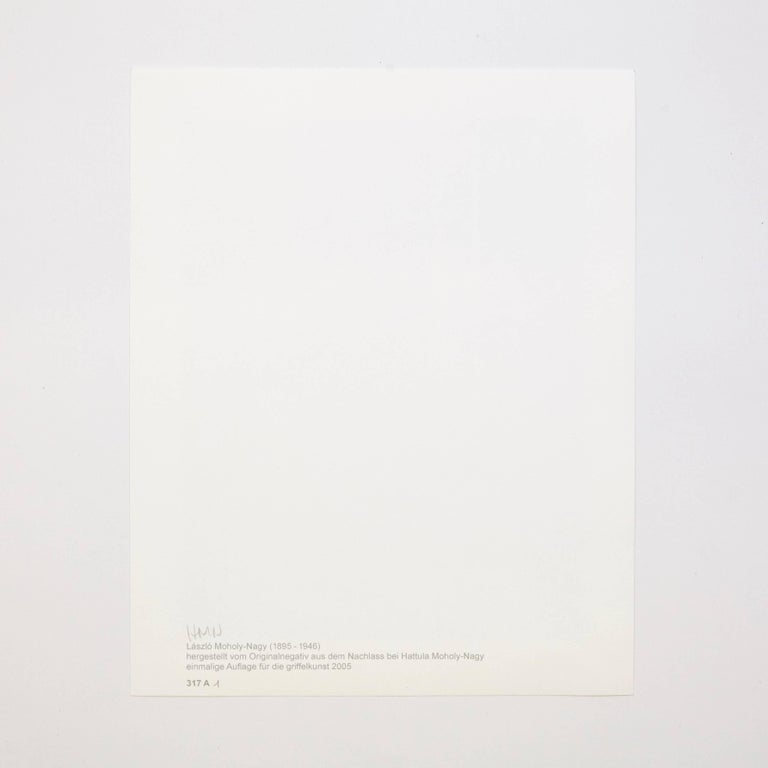 László Moholy-Nagy photography 1/6 from a set of 6 photographies. Single edition of 'Light-Room Modulations' folder, original title 'Licht-Raum Modulationen.' Published by Edition Griffelkunst in Hamburg, 2005.  On verso monogrammed and