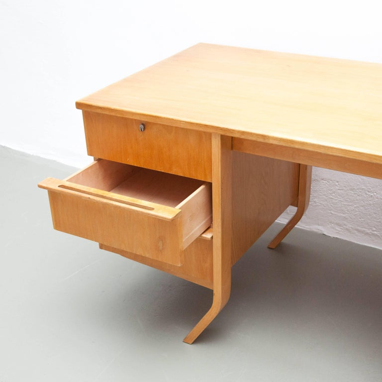 Cees Braakman EB04 Birch Desk, circa 1950 In Good Condition For Sale In Barcelona, Barcelona
