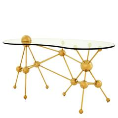 Desk Sputnik with Gold Finish Structure and Clear Glass Top