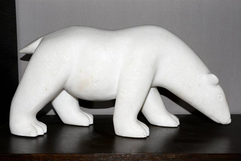Sculpture White Bear in Marble Limited Edition by J.B Vandame, 2015 In Excellent Condition For Sale In Paris, FR