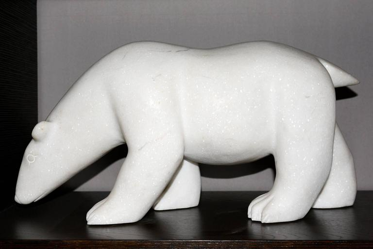 French Sculpture White Bear in Marble Limited Edition by J.B Vandame, 2015 For Sale