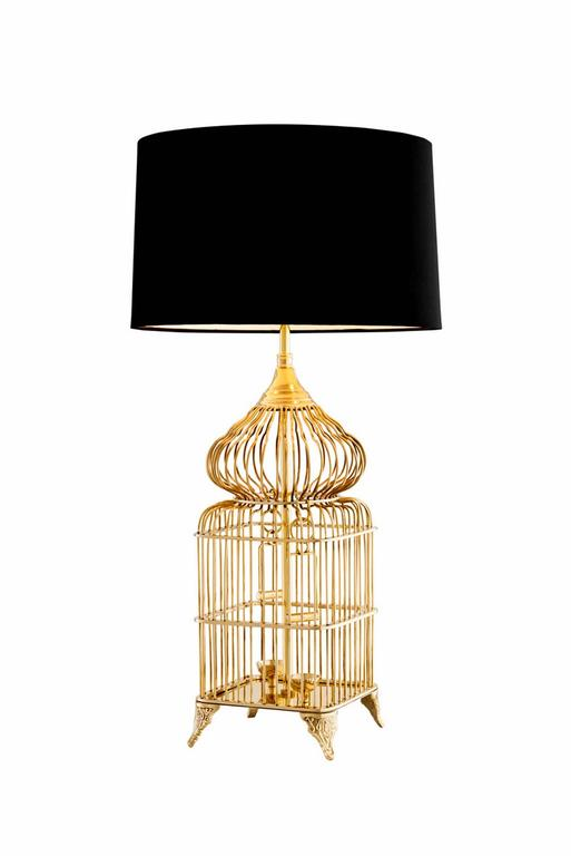 Table Lamp Bird Cage In Polished Brass Or In Nickel Finish