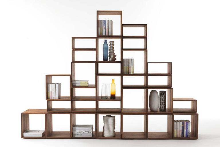 Bookcase Free in Solid Walnut Wood Made with 28 Free Boxes 2
