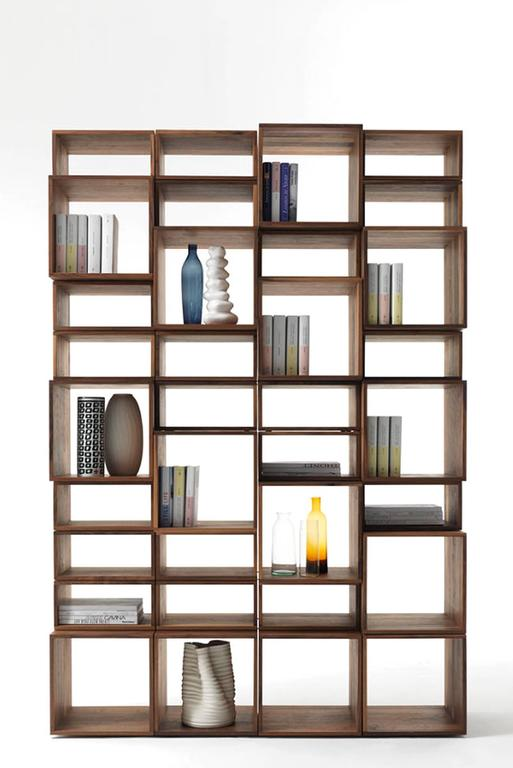 Bookcase Free in Solid Walnut Wood Made with 28 Free Boxes 5
