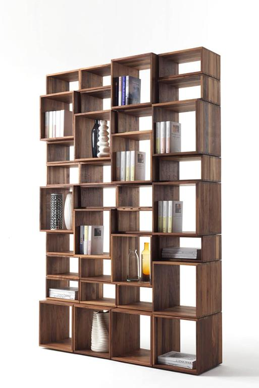Bookcase Free in Solid Walnut Wood Made with 28 Free Boxes 6
